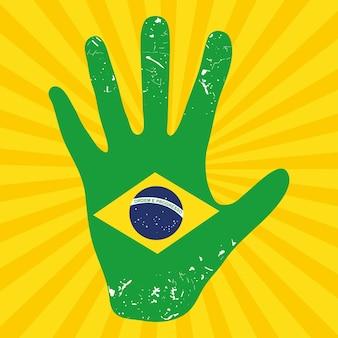 Ilustração da bandeira brasileira na mão