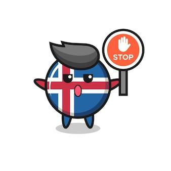 Ilustração da bandeira da islândia segurando uma placa de pare, design bonito