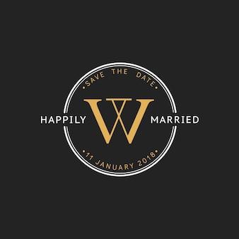 Ilustração da bandeira de carimbo de convite de casamento