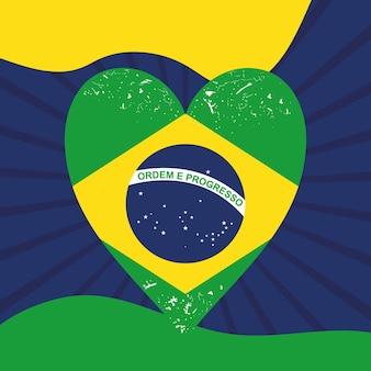 Ilustração da bandeira do brasil em formato de coração