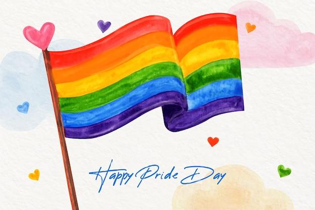 Ilustração da bandeira do dia do orgulho pintada à mão em aquarela