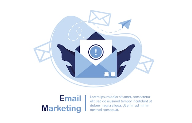 Ilustração da bandeira do email marketing & conceito da mensagem. carta, folha em um envelope. aplicativo de envio. banner e modelo para sites. notícia importante. papel. azul e branco.