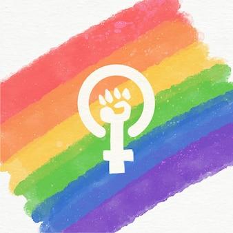Ilustração da bandeira lgbt feminista em aquarela