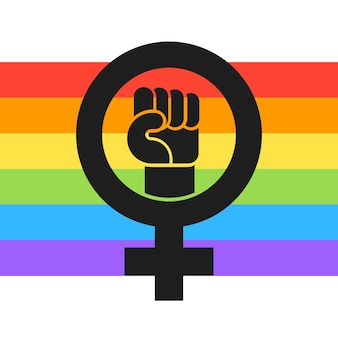 Ilustração da bandeira lgbt feminista plana