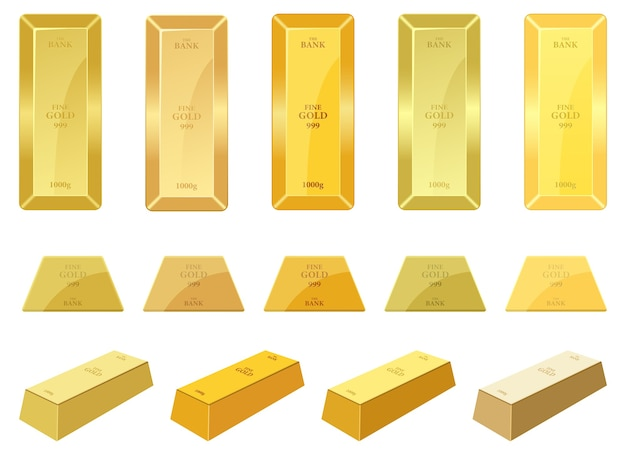 Ilustração da barra de ouro isolada no fundo branco