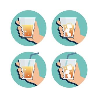 Ilustração da bebida da mão segurando