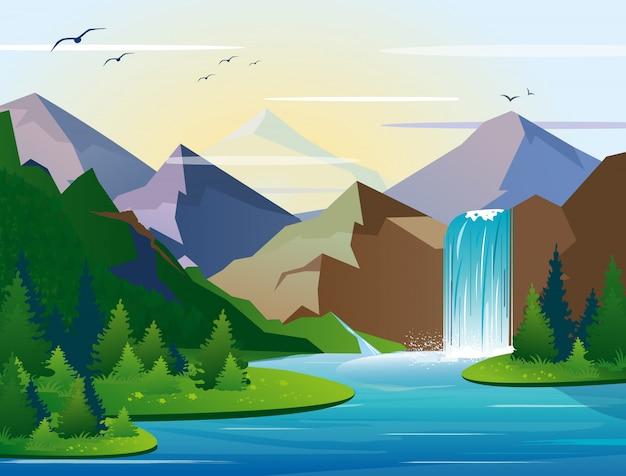 Ilustração da bela cachoeira nas montanhas paisagem com árvores, pedras e céu. madeira verde com natureza selvagem, lago e arbusto folhagem em estilo simples.
