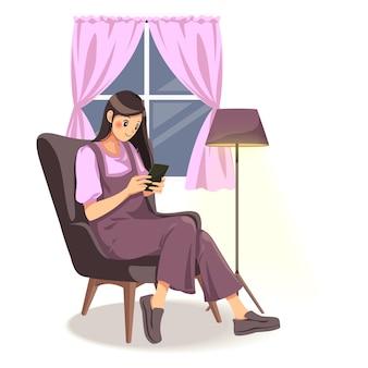 Ilustração da bela dama usando telefone sentado no sofá