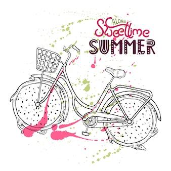 Ilustração da bicicleta com fruta do dragão em vez das rodas.