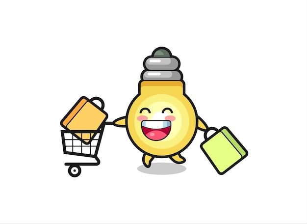 Ilustração da black friday com a mascote de lâmpada fofa, design de estilo fofo para camiseta, adesivo, elemento de logotipo