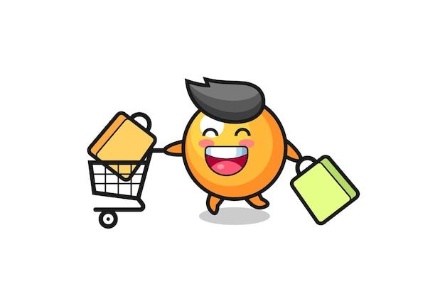Ilustração da black friday com mascote fofa da bola de pingue-pongue, design de estilo fofo para camiseta, adesivo, elemento de logotipo