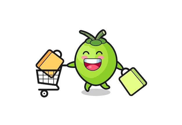 Ilustração da black friday com o fofo mascote do coco
