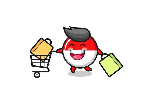 Ilustração da black friday com o mascote bonito do emblema da bandeira da indonésia, design de estilo bonito para camiseta, adesivo, elemento de logotipo