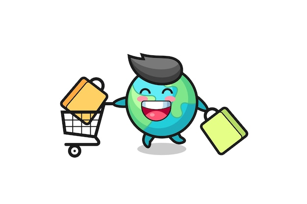Ilustração da black friday com o mascote da terra fofo, design de estilo fofo para camiseta, adesivo, elemento de logotipo
