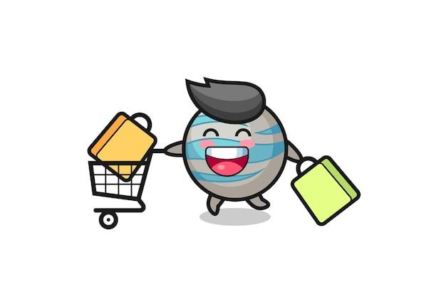 Ilustração da black friday com o mascote do planeta fofo, design de estilo fofo para camiseta, adesivo, elemento de logotipo