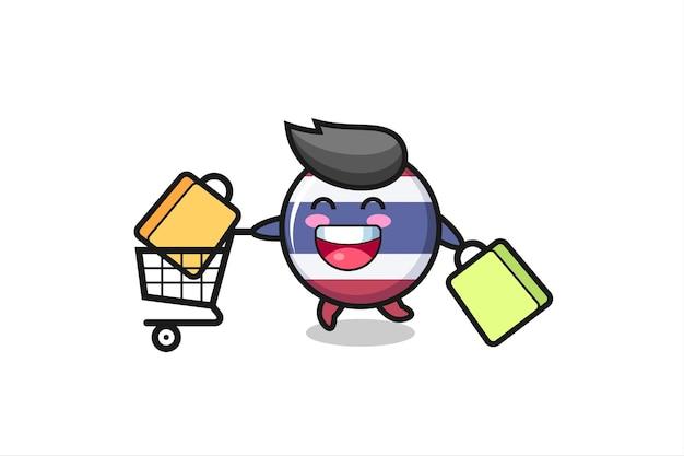 Ilustração da black friday com o mascote fofo do emblema da bandeira da tailândia, design de estilo fofo para camiseta, adesivo, elemento de logotipo