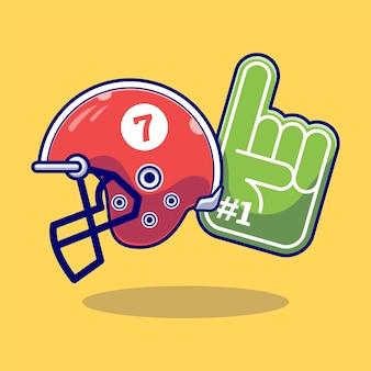 Ilustração da bola americana com um capacete. esporte . estilo de desenho plano