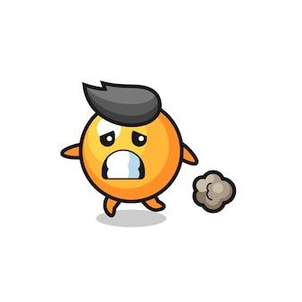 Ilustração da bola de pingue-pongue correndo com medo, design de estilo fofo para camiseta, adesivo, elemento de logotipo