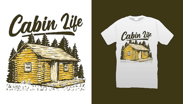 Ilustração da cabana de madeira