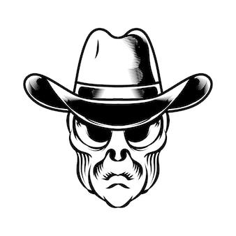 Ilustração da cabeça alienígena com chapéu de caubói para o elemento do vetor do logotipo do emblema