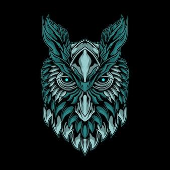 Ilustração da cabeça de coruja mística