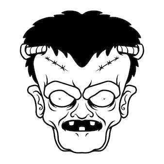 Ilustração da cabeça de frankenstein