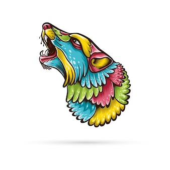 Ilustração da cabeça de lobo abstrata.