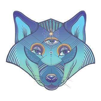 Ilustração da cabeça de lobo
