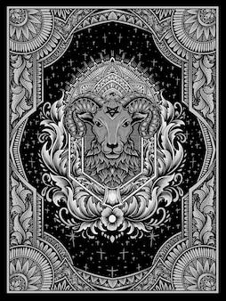 Ilustração da cabeça de ovelha do demônio com gravura vintage.