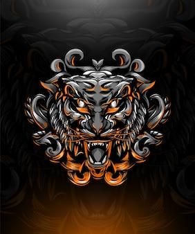 Ilustração da cabeça de um tigre, em estilo tradicional