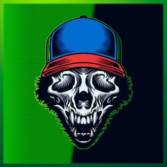 Ilustração da cabeça do crânio animal impressionante com um sorriso, chapéu azul, chifre e pêlo sobre o fundo verde. ilustração desenhados à mão para o logotipo do esporte mascote