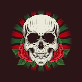 Ilustração da cabeça do crânio com desenho detalhado de rosas
