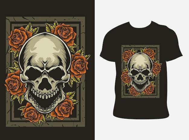 Ilustração da cabeça do crânio com flor rosa na maquete da camiseta
