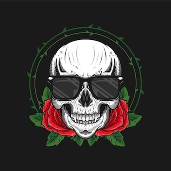 Ilustração da cabeça do crânio com rosas e design detalhado de vidros