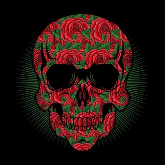 Ilustração da cabeça do crânio com textura de rosas vermelhas desenho vetorial detalhado