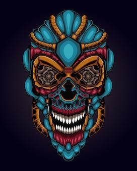 Ilustração da cabeça do crânio cyberpunk