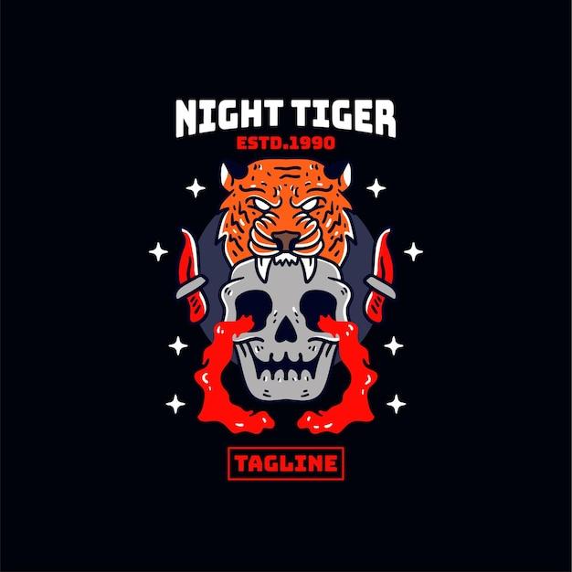 Ilustração da cabeça do crânio do tigre