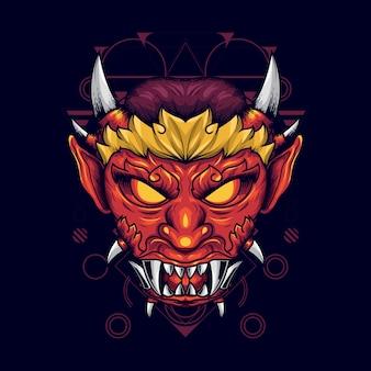Ilustração da cabeça do diabo com chifres afiados