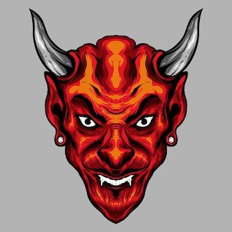 Ilustração da cabeça do diabo com chifres vermelhos malvados
