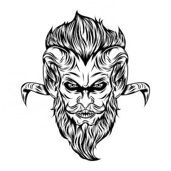 Ilustração da cabeça do diabo de macaco com olhos brilhantes e cabelo comprido
