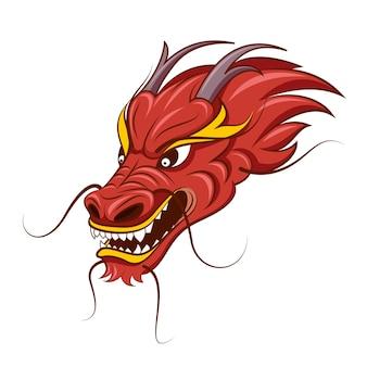 Ilustração da cabeça do dragão chinês.
