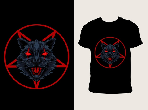 Ilustração da cabeça do gato demoníaco
