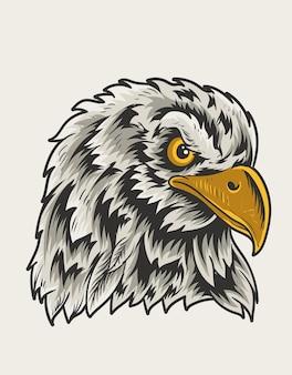 Ilustração da cabeça do pássaro águia vintage