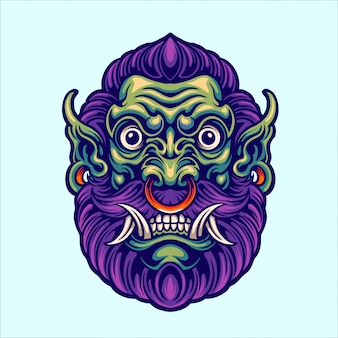 Ilustração da cabeça verde ogre