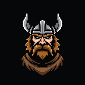 Ilustração da cabeça viking isolada no preto