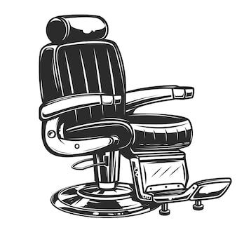 Ilustração da cadeira de barbeiro no fundo branco. elemento para cartaz, emblema, sinal, crachá. ilustração