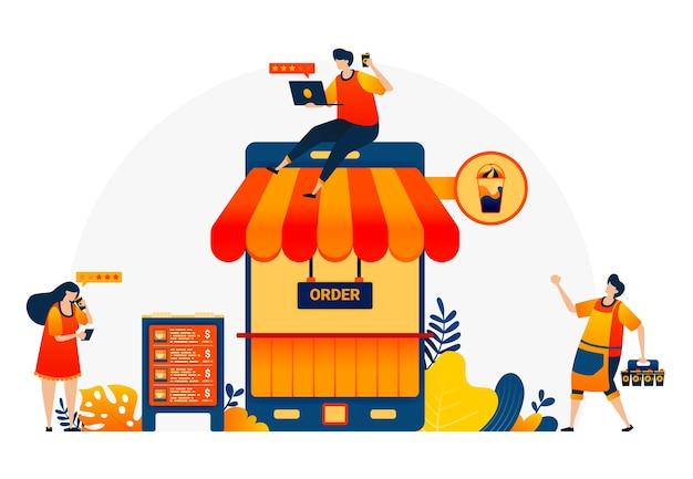 Ilustração da cafeteria com telefone e telhado. metáfora 4.0 da cafeteria com internet. aplicativos móveis de café para comprar e comentários positivos.