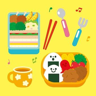 Ilustração da caixa bento kawaii