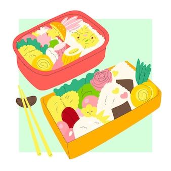 Ilustração da caixa de bento desenhada à mão