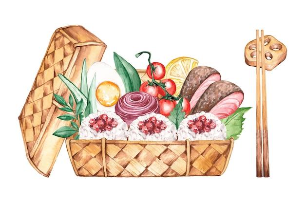 Ilustração da caixa de bento em aquarela